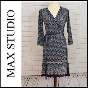 MAX STUDIO Chevron Pattern Wrap Dress